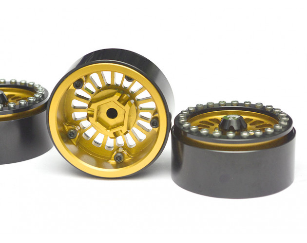 Venomous KRAIT™ 1.9 Aluminum Beadlock Wheels with 8mm Wideners (4) [Recon G6 Certified] Gold