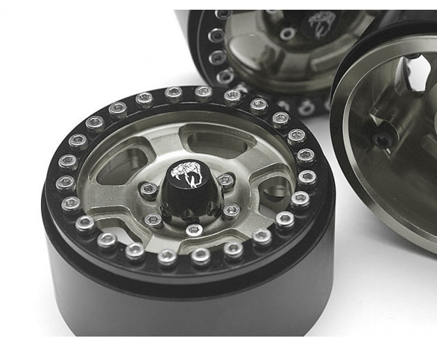 Golem KRAIT™ 1.9 Aluminum Beadlock Wheels with 8mm Wideners (4) [Recon G6 Certified] Gun Metal