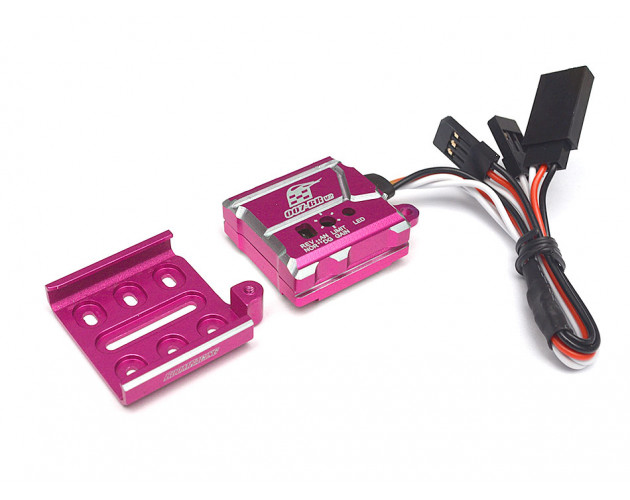 007 RC Car Gyro High Stability Aluminum Gyroscope For Drift RWD With Universal Mounting Tray - 1 Set Pink