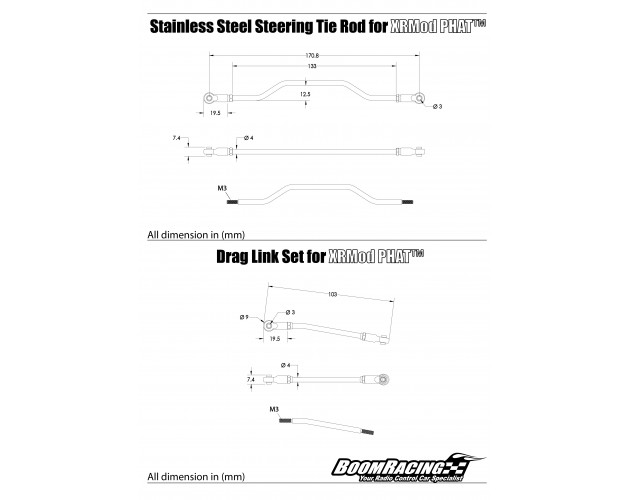 Stainless Steel Steering Tie Rod + Drag Link Set for XRMod PHAT™