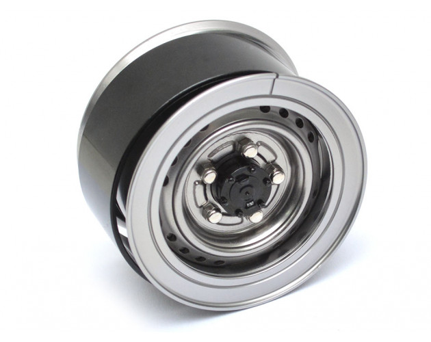 1.55 Yota LC70 Stock Steelie Beadlock Wheels Rear (2) Gun Metal