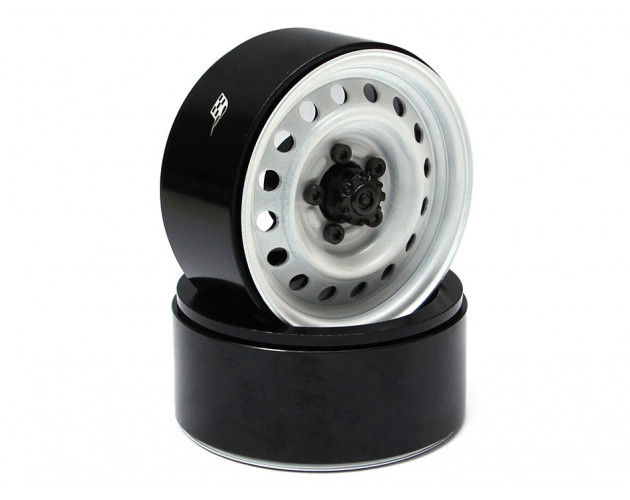 1.9 Badass Classic 16-Hole Steelie & CNC Aluminum Beadlock Wheels W/ Center Hubs (Front) 2pcs White