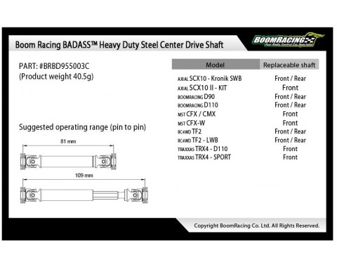 Complete BADASS™ HD Steel Center Drive Shaft Set for Boom Racing D90/D110 Chassis Front Center & Rear (3) [Recon G6 Certified]