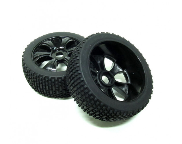 1/8 Buggy Wheel & Tire Set 5-Spoke Pattern 2 With Molded Inserts (2) Off Road Black