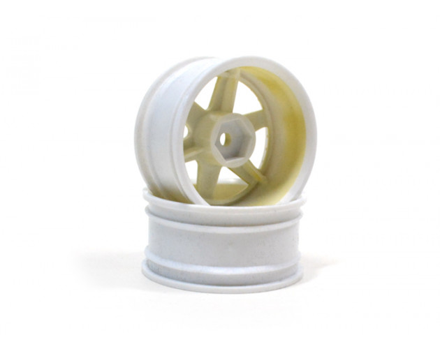 6-Spoke White Outer Ring Wheel Set (2Pcs) For 1/10 RC Car (6mm Offset) Gold