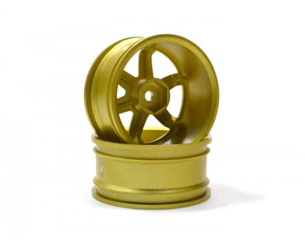 6-spoke Wheel Set (2pcs) Golden For 1/10 RC Car (9mm Offset)