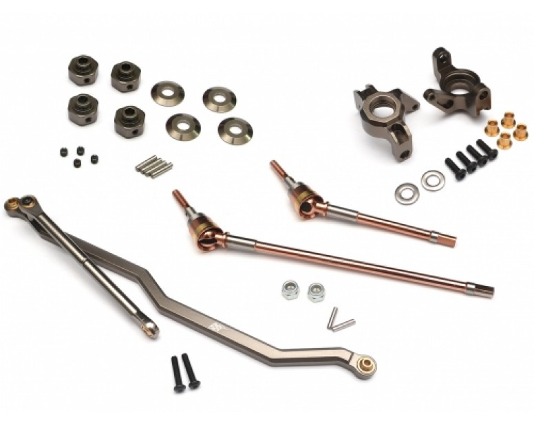 Axial Wraith Joint Shafts Combo Set (Steering Linkage,Steering Block,Hexagon Wheel Hub, and Front Universal CVD Joint Shafts) Gun Metal