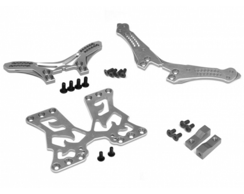 Performance Combo Package B Upgrade Set For D4 (Front/Rear Shock Tower, Servo Mount, Battery Mount Plate) Gun Metal