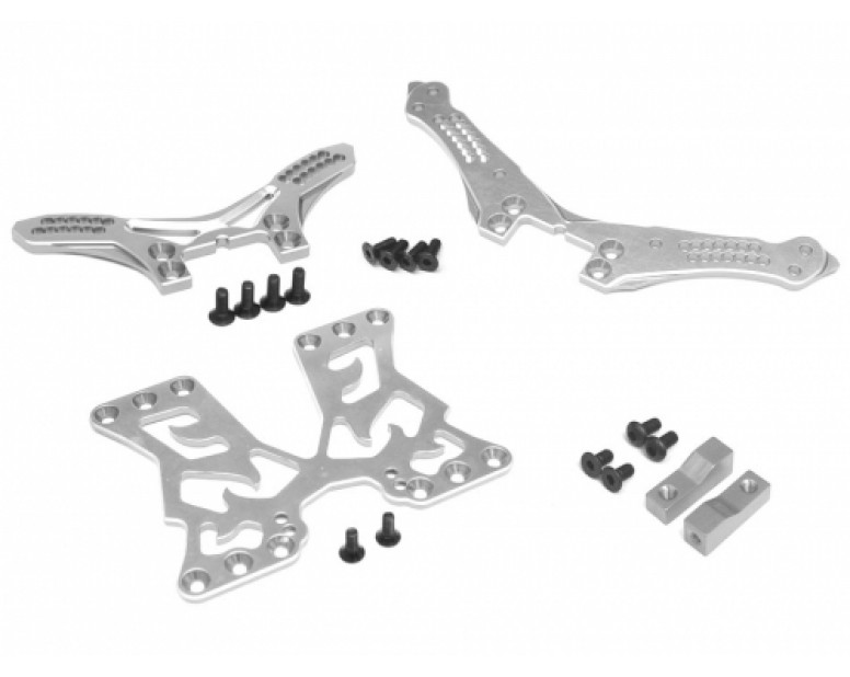 Performance Combo Package B Upgrade Set For D4 (Front/Rear Shock Tower, Servo Mount, Battery Mount Plate) Silver