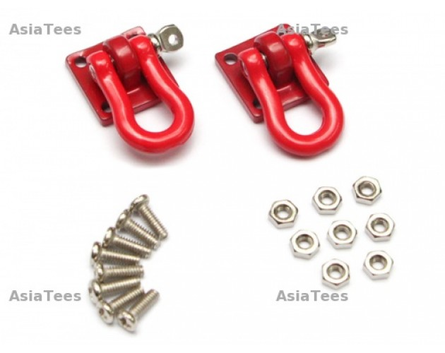 1/10 Scale RC Aluminum Winch Shackle (Large) Red 2 pc [RECON G6 The Fix Certified]