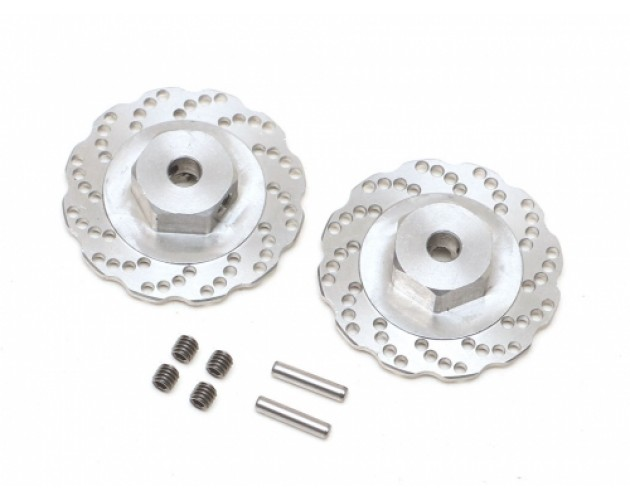 Stainless Steel Wavy Cross Drilled Brake Disc 12mm Hex (2)