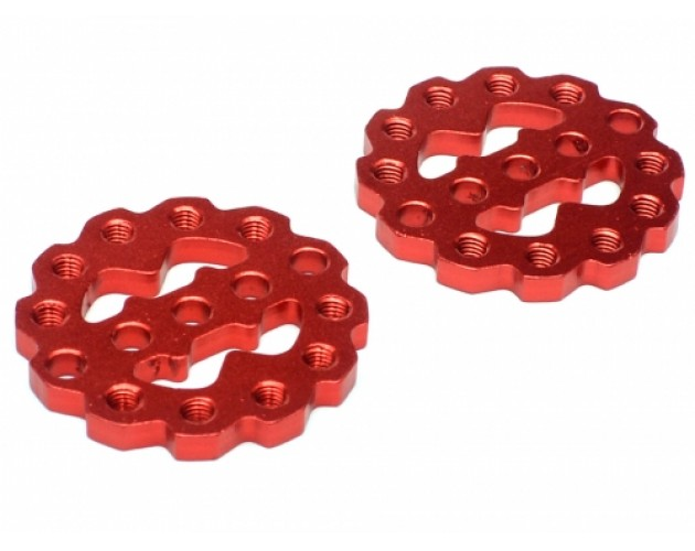 Rugged Gear Aluminum Universal Shock Ring Hoops 2Pcs Red