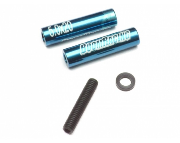 Threaded Aluminum Link Pipe Rod 5x20mm (2) w/ Set Screws & Delrin Spacers Blue
