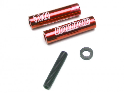 Threaded Aluminum Link Pipe Rod 5x20mm (2) w/ Set Screws & Delrin Spacers Red