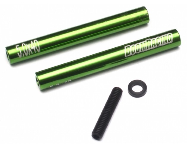 Threaded Aluminum Link Pipe Rod 5x40mm (2) w/ Set Screws & Delrin Spacers Green