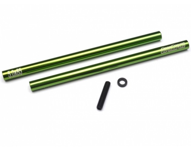 Threaded Aluminum Link Pipe Rod 5x85mm (2) w/ Set Screws & Delrin Spacers Green