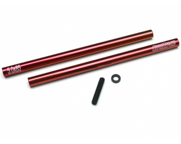Threaded Aluminum Link Pipe Rod 5x85mm (2) w/ Set Screws & Delrin Spacers Red