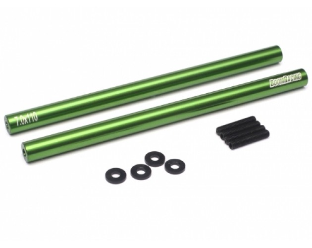 Threaded Aluminum Link Rod Pipe 7x110mm (2) w/ 3mm Set Screws & Derlin Spaces Green