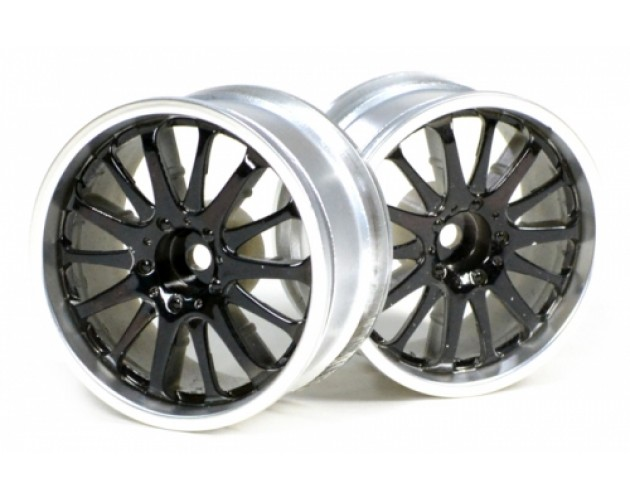 14-Spoke Wheel Set (2Pcs) Chrome For 1/10 RC Car 26mm Black