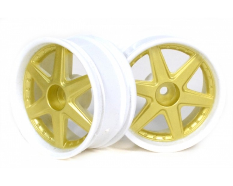 6-Spoke White Outer Ring Wheel Set (2Pcs) For 1/10 RC Car (3mm Offset) Gold