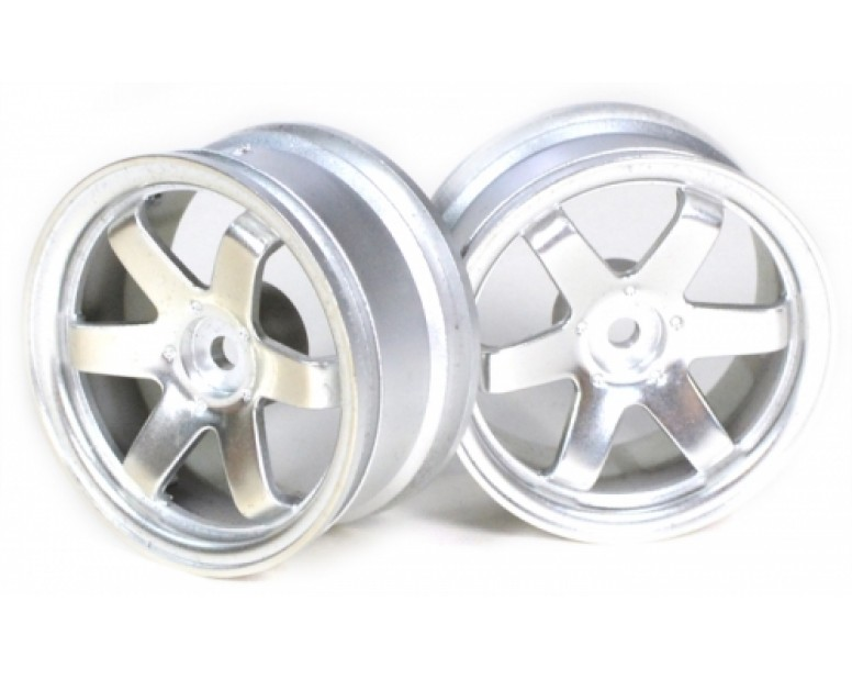 6-spoke Wheel Set (2pcs) Silver For 1/10 RC Car (9mm Offset)