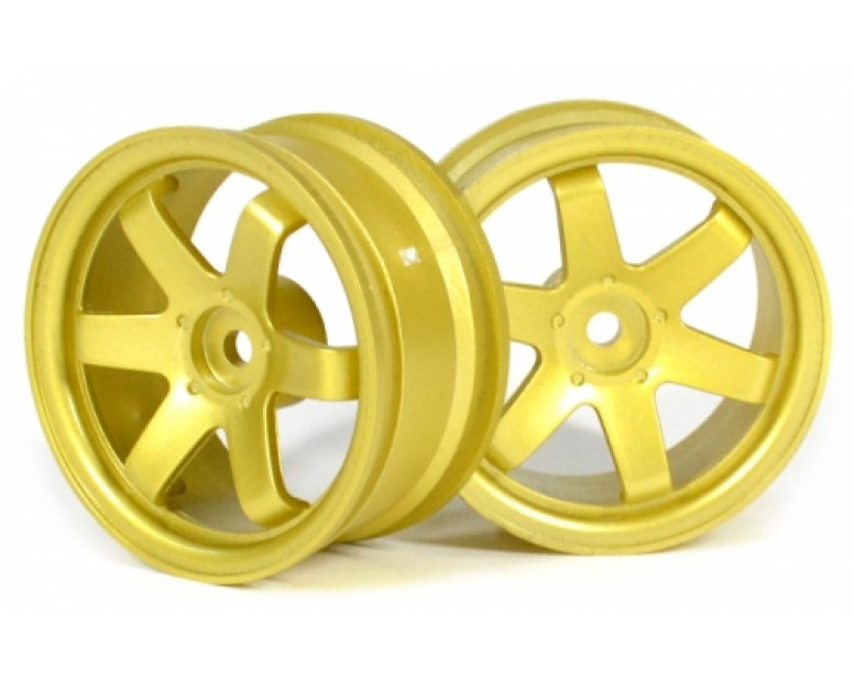 6-spoke Wheel Set (2pcs) Golden For 1/10 RC Car (6mm Offset)