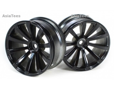 10-Spoke Wheel Set (2Pcs) Chrome/Black For 1/10 RC Car 26MM