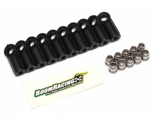 BADASS Heavy Duty Rust-Resistant Rod Ends M4 Nylon (Straight) 18.5MM w/ Stainless Steel Pivot Ball (5.8x3x7.4mm) (10) [RECON G6 The Fix Certified]