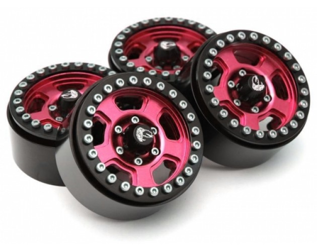Golem KRAIT™ 1.9 Aluminum Beadlock Wheels with +8mm Widener (4) [Recon G6 Certified] Red