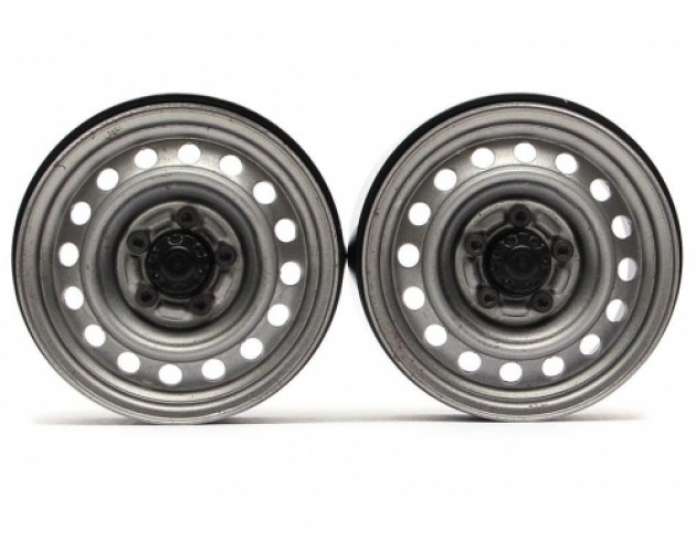 1.9 Narrow 21mm Badass Classic 16-Hole Steelie & CNC Aluminum Beadlock Wheels w/ Center Hubs (Front) 2pcs Untreated Finish