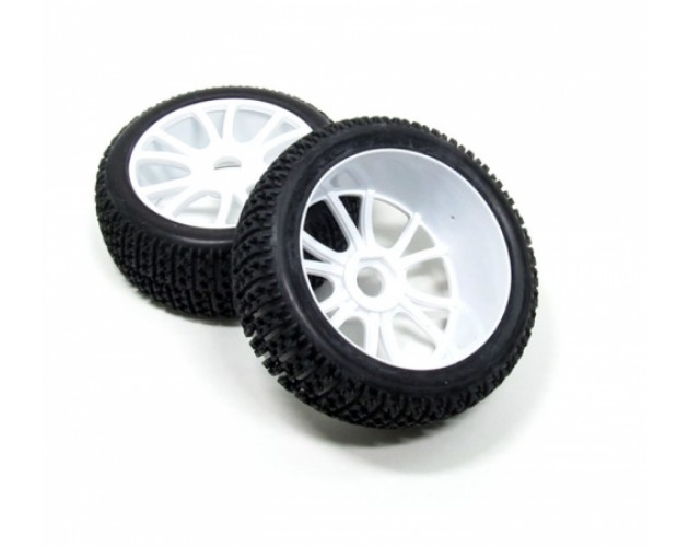 1/8 Buggy Wheel & Tire Set 12-spoke Pattern 4 (2) With Molded Inserts White