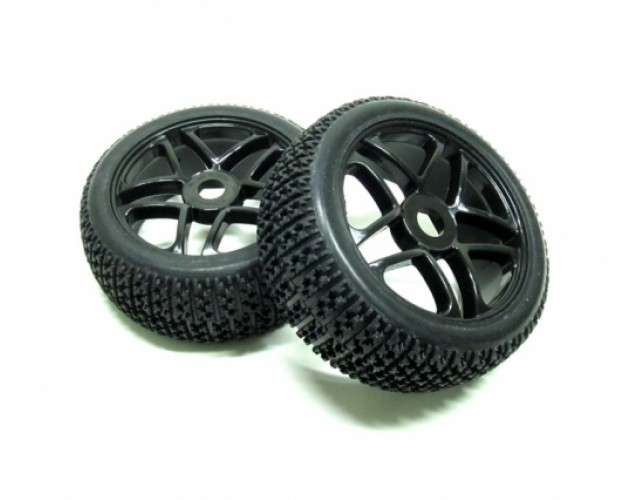 1/8 Buggy Wheel & Tire Set Dual 5-spoke Off Road (2) With Molded Inserts Black