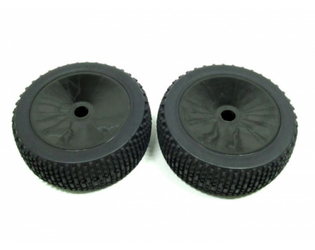 1/8 Buggy Dish Wheel & Tire Set Off Road (2) With Molded Inserts Black