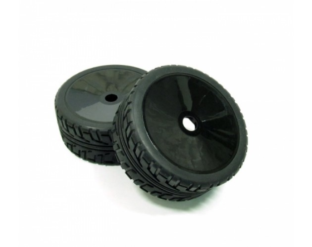 1/8 Buggy Dish Wheel & Tire Set On Road (2) With Molded Inserts Black