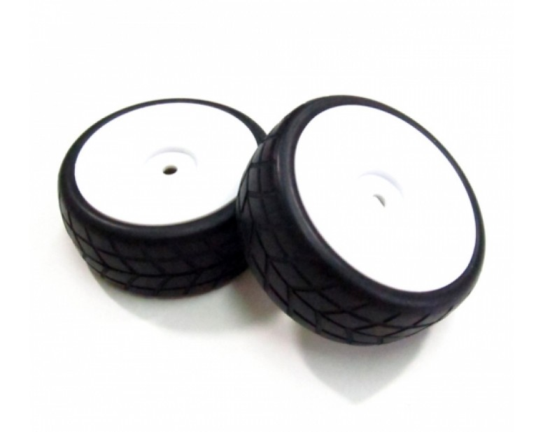 1/10 Mounted White Wheel & Rubber Tire Pattern Y (2)