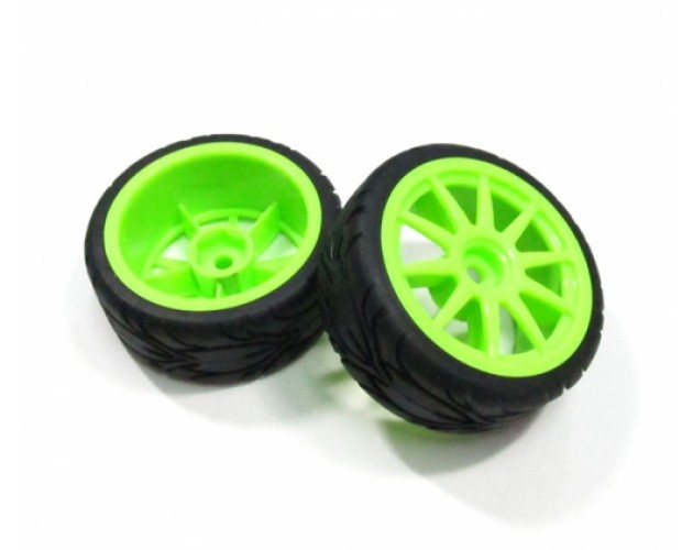 1/10 Mounted 10 Spoke Wheel & Tire Pattern X (2)