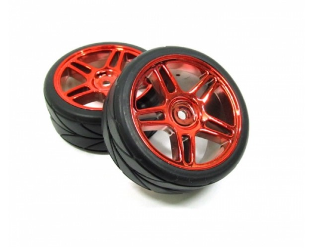 Outer Ring Wheel & Arrow Pattern Tire Set Dual 5-spoke For 1/10  Red