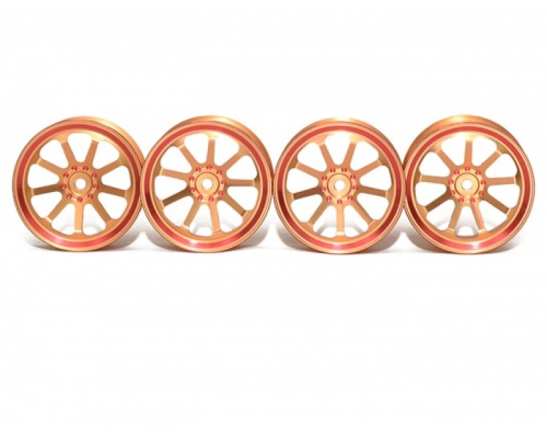 Aluminum Wheel Rims With 9-Spoke For RC 1:10 Racing Car - 4 PCS Gold
