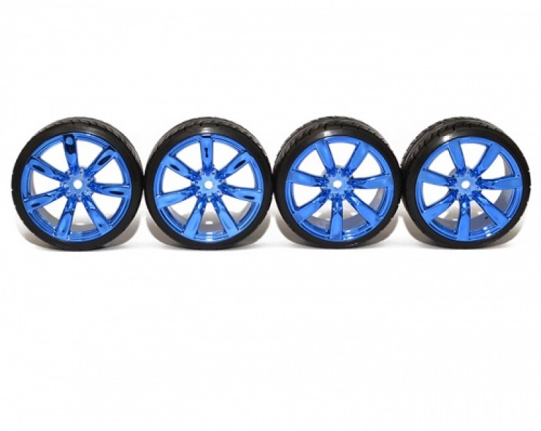 1/10 Touring Wheel /Tire Set High Quality 7 Spoke Wheel + 0° Drift Tire (4Pcs) Blue