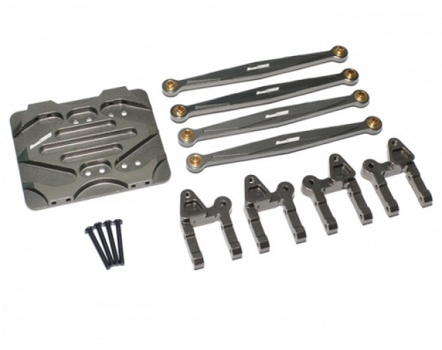 Boom Racing R1 Linkage Combo Set - 3 Items With Tool Box Gun Metal