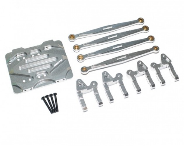 Boom Racing R1 Linkage Combo Set - 3 Items With Tool Box Silver